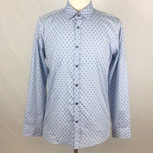 Ted Baker Chipmnk Green Diamond Print Dress Shirt